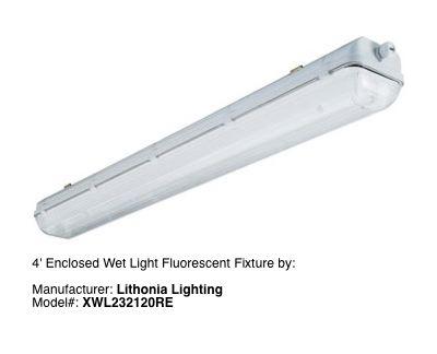 2 Tube Vapor Tight Fluorescent Lighting Fixture