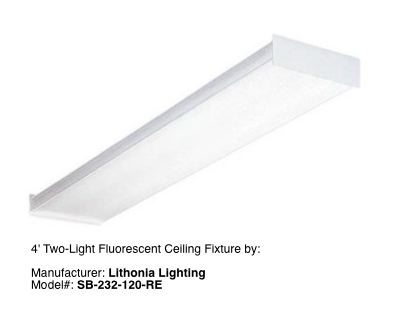 2 Tube Fluorescent Lighting Fixture